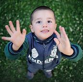 Boy outside playing