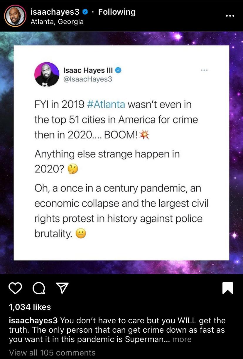 Isaac Hayes' son talks crime pandemic in Atlanta