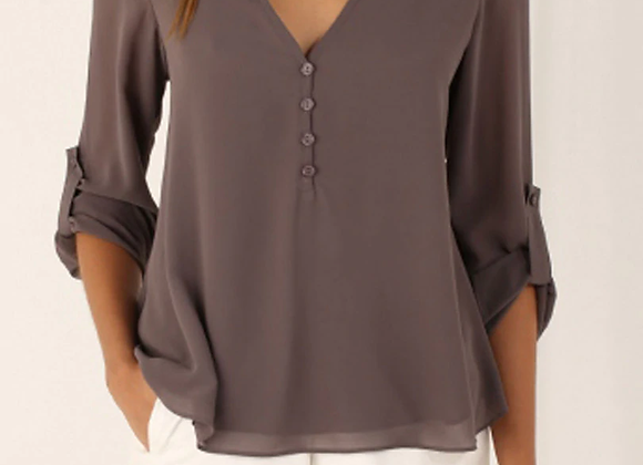 Solid Color Long Sleeve Chiffon Blouse