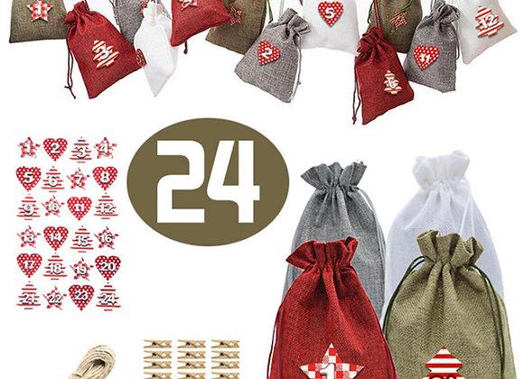 Christmas Advent Calendar Drawstring Bags (Set of 24)