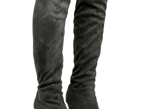 Grey Over The Knee Cloth Heeled Boot