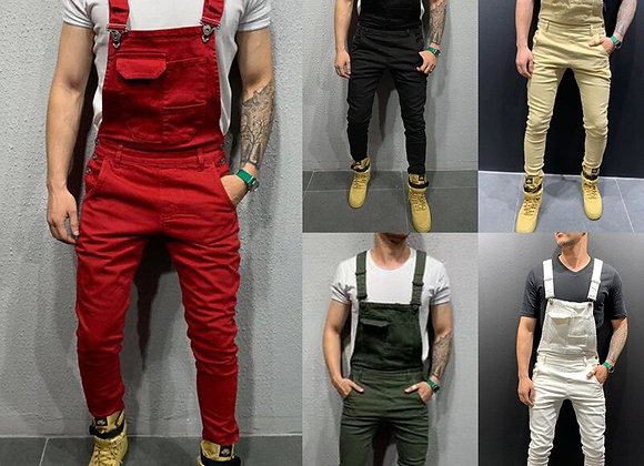 Mens Solid Color Patchwork Overalls