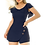 Thumbnail: Magnificent Blue Round Neck Buttoned Culotte Romper