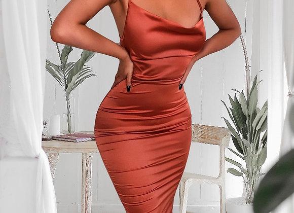 Serenade Satin Lace Up Midi Dress
