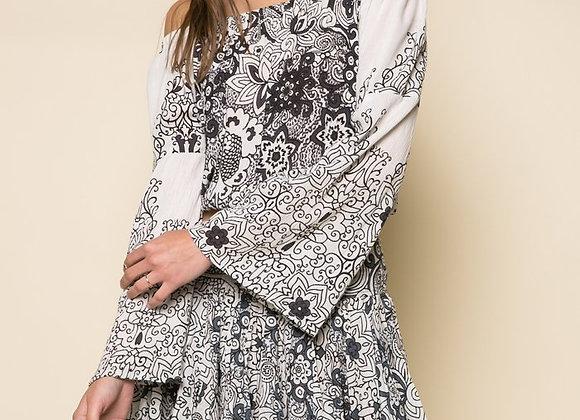Grey Rose Off Shoulder Dress