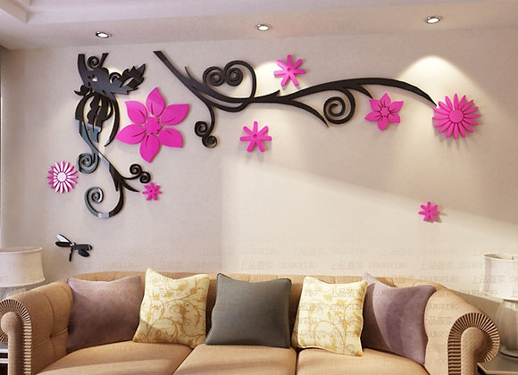3D Flower Acrylic Wall Stickers