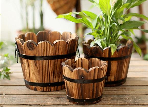 Vintage Wood Vase Bucket For Organizing/Gardening