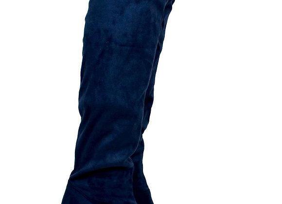 Navy Over The Knee Cloth Heeled Boot