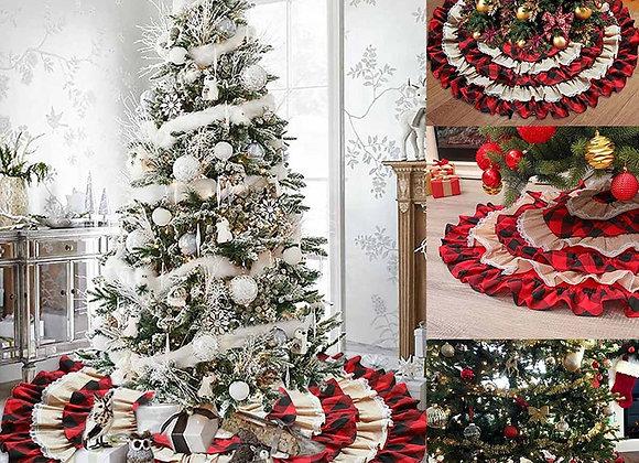 Plaid & Ruffled Christmas Tree Skirt