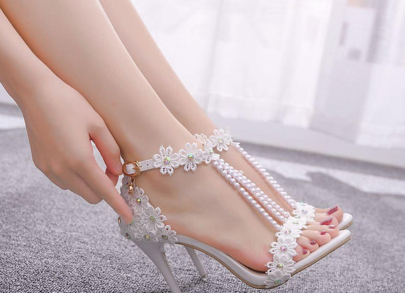 Floral Queen White Heels