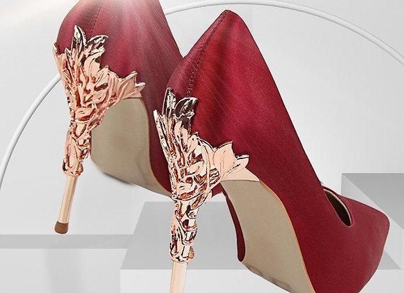 Metal Carved Elegant High Heels