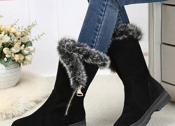 Fur Plush Suede Zip Boots