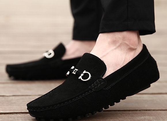 Smooth Suede Black Loafers
