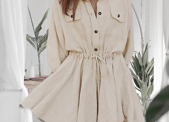 Lantern Sleeve Mini Shirt Dress