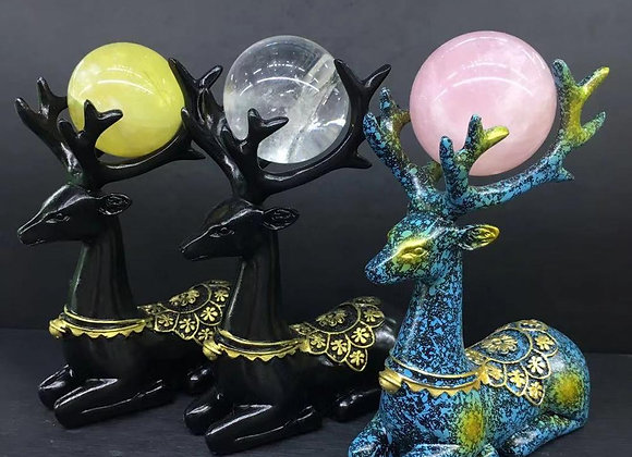 Natural Crystal Ball Deer Decor