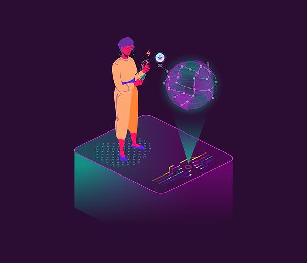 illustration of a woman uploading information on internet