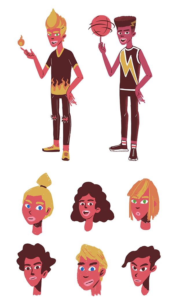 Colorful sketchy minimal 2d teen super hero characters