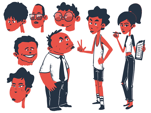 Minimalistic 2d tech start-up characters