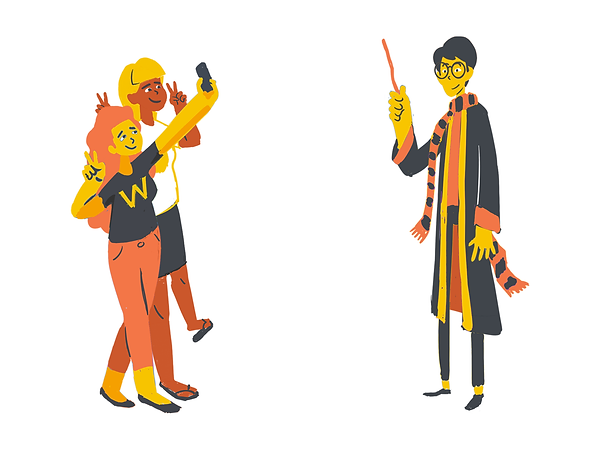 Colorful minimal 2d geek characters