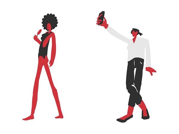 fashionable stylish minimalistic 2D characters