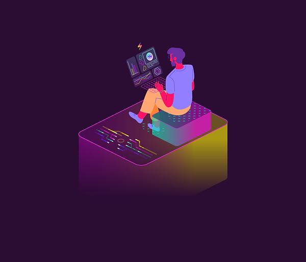 illustration of  a web based business owner checking statistics
