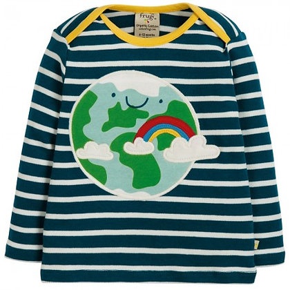 Frugi Bobby Applique Top - Space Blue Breton