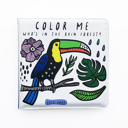 Wee Gallery Colour Me Bath Book - Who's in the Rain forest?