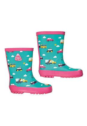 Frugi Puddle Buster Wellington Boots - Aqua Rainbow Roads
