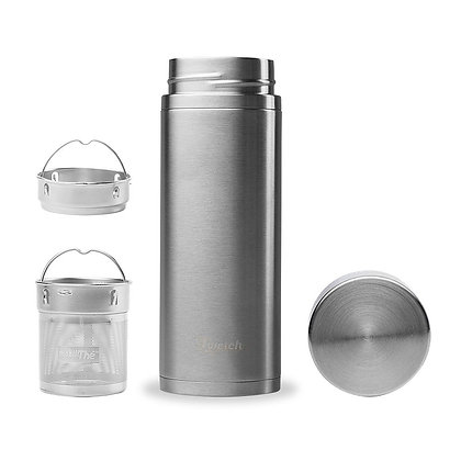 Qwetch Insulated Brushed Stainless Steel Infuse Flask 300ml