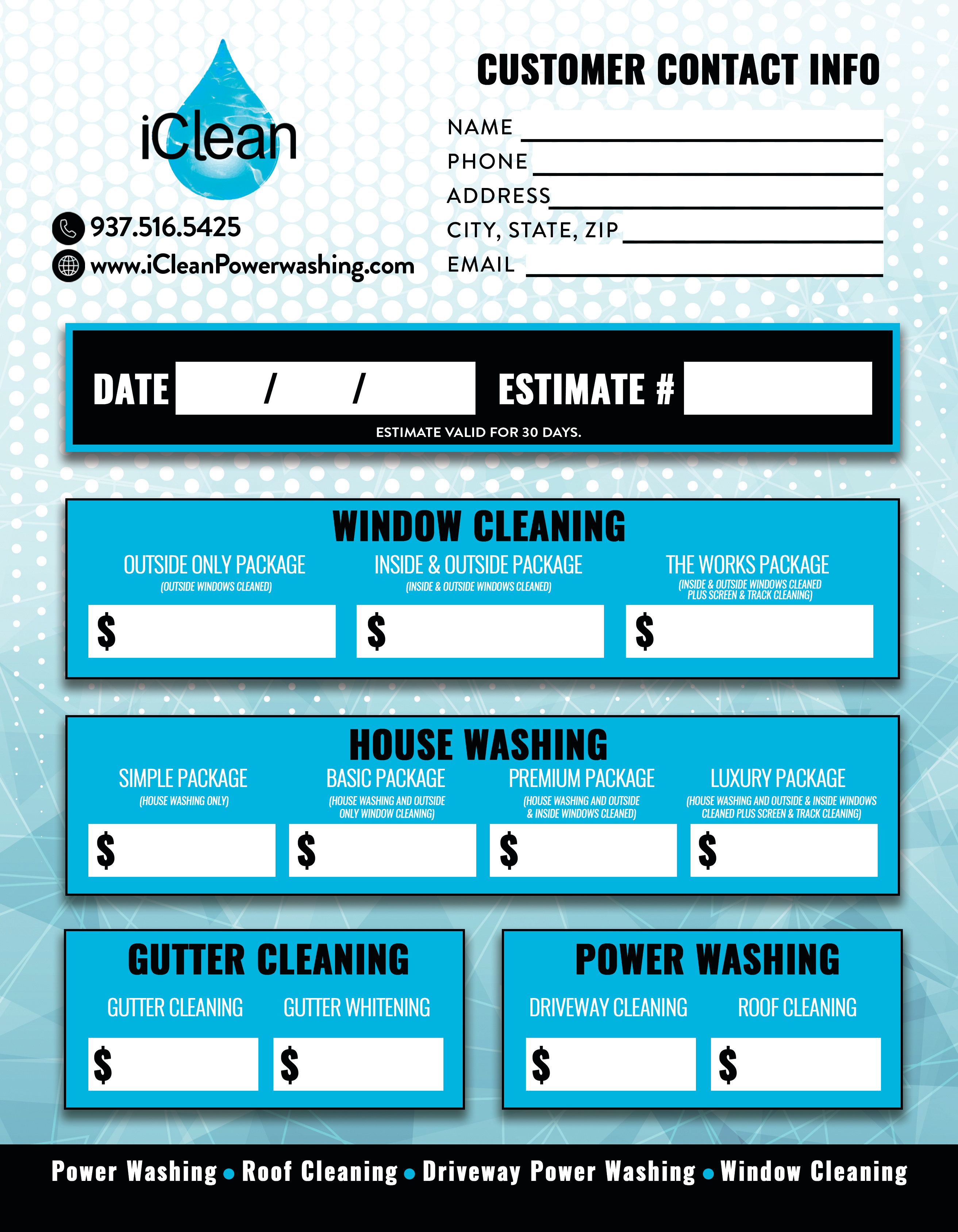 iClean_EstimateSheet_7-29-19_Front