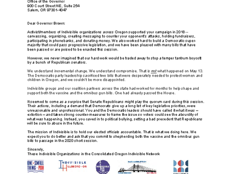 May 28, 2019 Letter to Kate Brown signed by OST PDX & Other Indivisible Groups