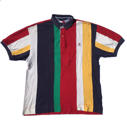 360bfb7b6126d Vintage Tommy Hilfiger og crest striped Polo top   t shirt   stipey  Longsleeve rugby tee. Red   navy blue   white   green   yellow. Men s size  Medium   M. ...