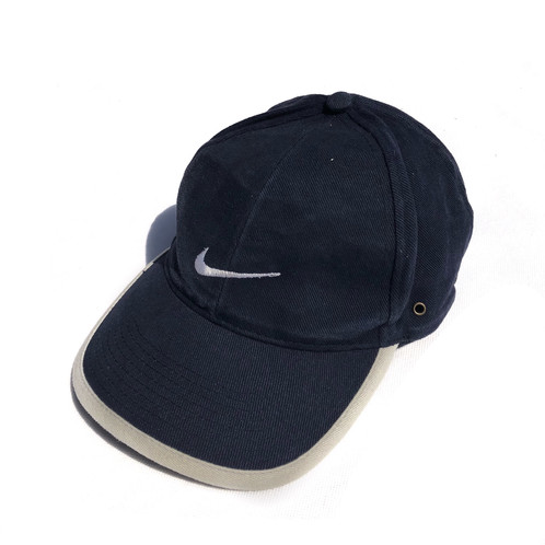 04c101cbcb0e7 Vintage Nike big logo cap   hat w  One size fits all adjustable fastening.  Navy blue   beige. Good condition