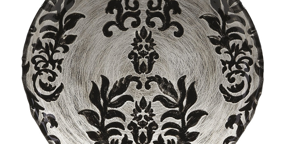 Damask Velvet Gilded Glass Canapé Plate - Black