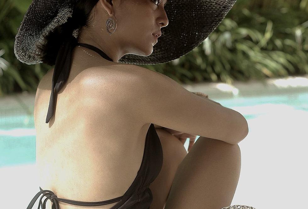 Swasti Palm Straw Hat - Black