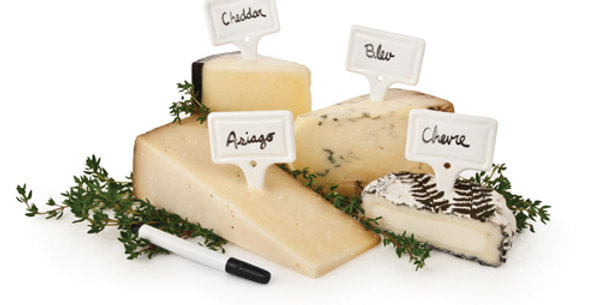 Ceramic Cheese Markers by Twine® - 4 Set + Pen