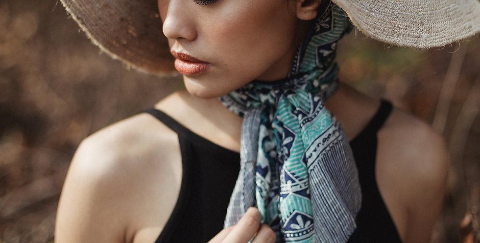 Biru Silk Batik Scarf