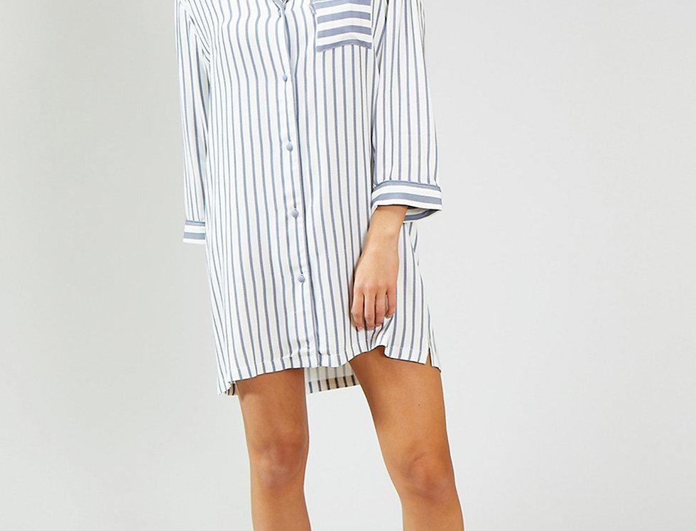 Haddon Stripe Nightshirt - Grey/Ecru