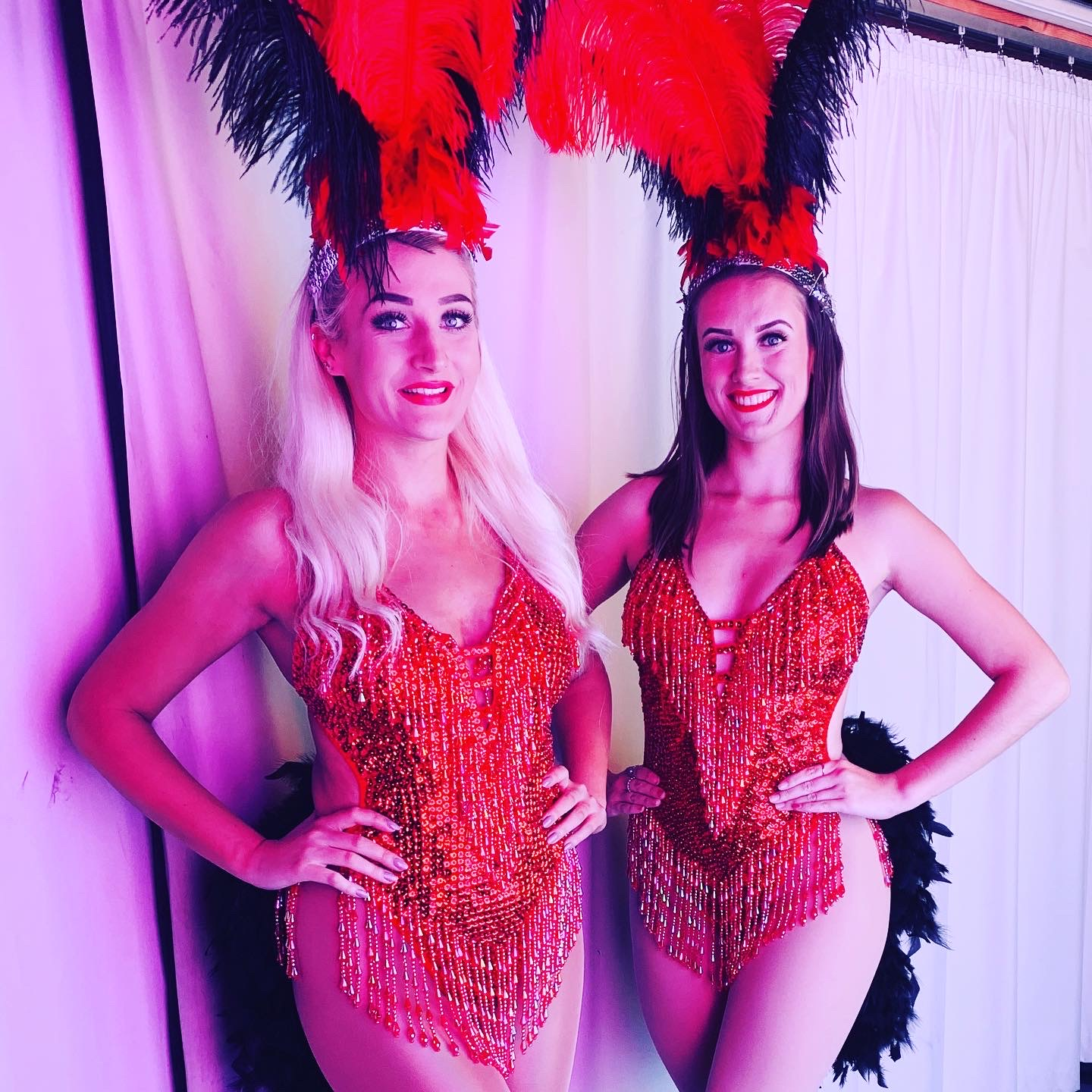 Showgirls Red Feathers