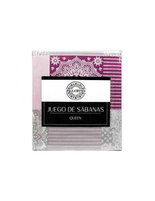 "Set sabana ""sabrina"" 144 hilos color ""rosado"" queen"