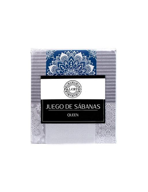 "Set sabana ""sabrina"" 144 hilos color ""azul"" queen  Producto disponible"