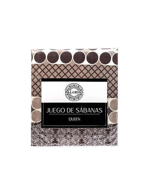 "Set sabana ""livorno"" 144 hilos color ""tabaco"" queen"