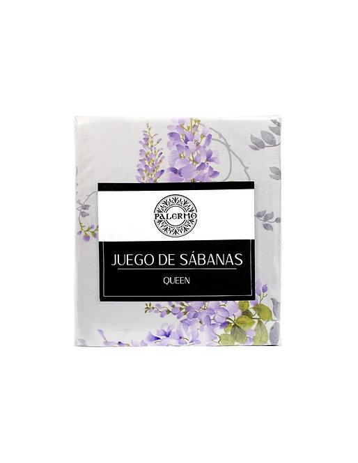 "Set sabana ""glicina"" 144 hilos color ""lila"" king  Producto disponible"