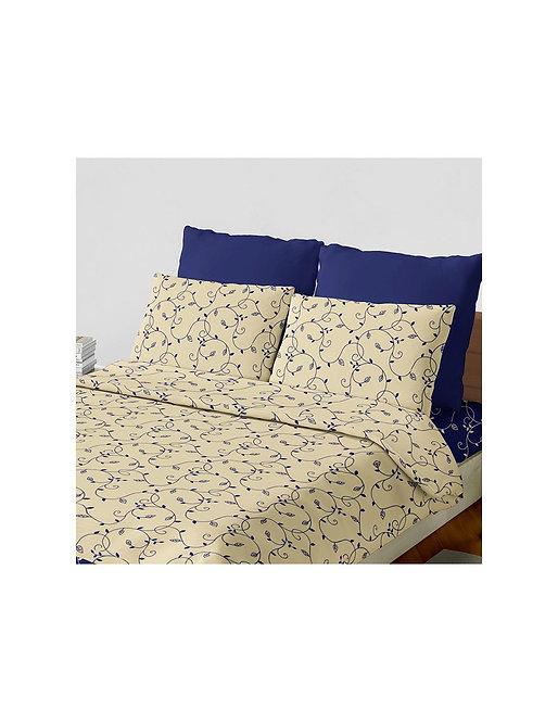 """Set sabana """"hojas"""" 144 hilos color """"azul"""" queen"""