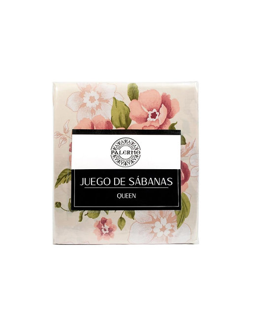 "Set sabana ""magnolia"" 144 hilos color ""coral"" king"