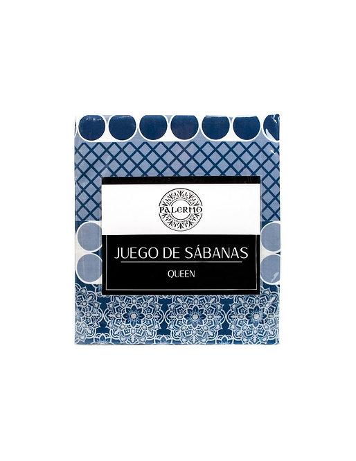 """Set sabana """"livorno"""" 144 hilos color """"azul"""" king  Producto disponible"""