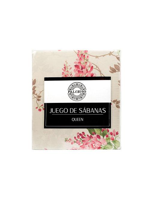 "Set sabana ""glicina"" 144 hilos color ""fucsia"" queen"