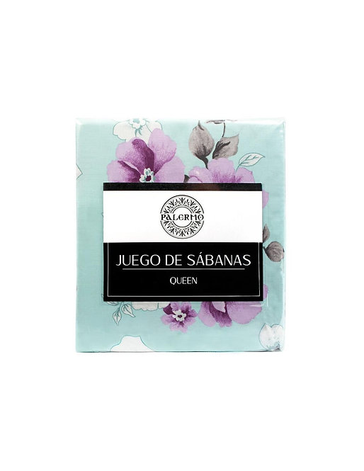 """Set sabana """"magnolia"""" 144 hilos color """"menta"""" 1.5 plaza"""
