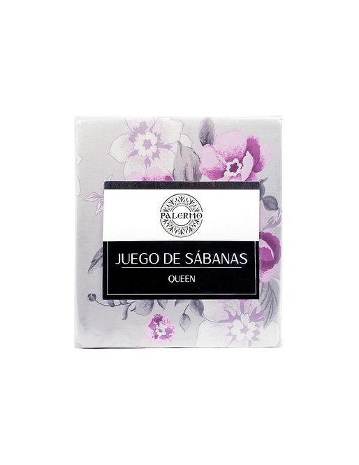 "Set sabana ""magnolia"" 144 hilos color ""púrpura"" king"