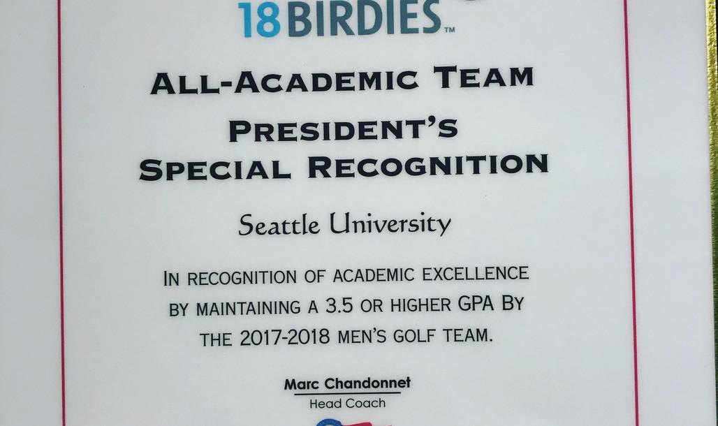 Mens Golf Presedential All Scholar Award
